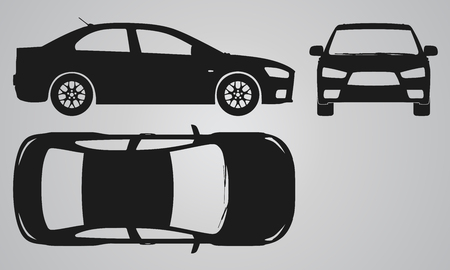 designing: Front, top and side car projection. Flat illustration for designing icons Stock Photo