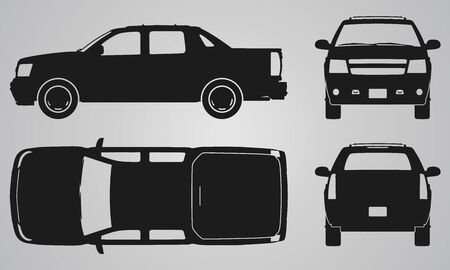 designing: Front, back, top and side pickup truck projection. Flat illustration for designing icons