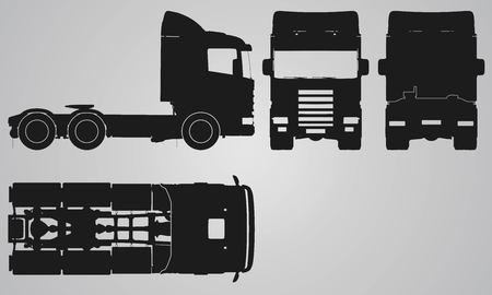 top down car: Front, back, top and side truck without trailer projection. Flat illustration for designing icons
