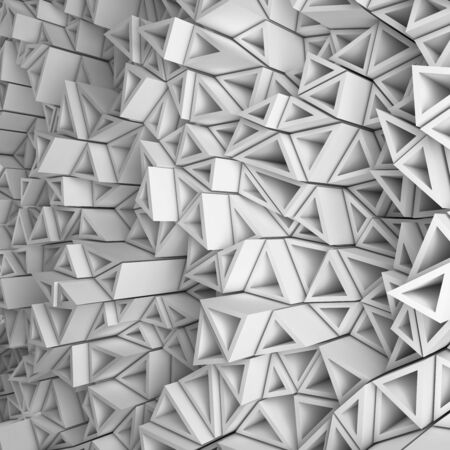 encircling: White abstract 3d geometric triangles backdrop with lighting