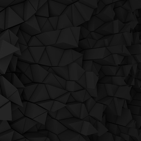 black wall: Black abstract 3d geometric triangles backdrop with lighting