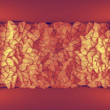 encircling: Orange abstract 3d geometric triangles backdrop with lighting