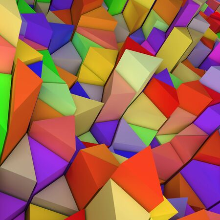 encircling: Colourful abstract 3d geometric triangles backdrop with lighting Stock Photo