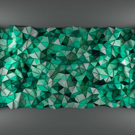 encircling: Turquoise abstract 3d geometric triangles backdrop with lighting