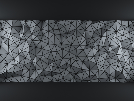 black wall: Gray abstract 3d geometric triangles backdrop with lighting