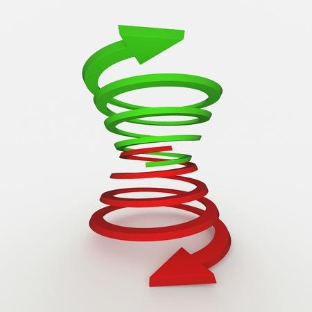 Las flechas en diferentes direcciones, hacia arriba y hacia abajo