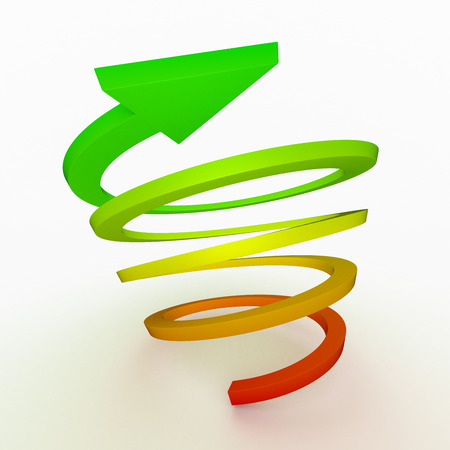 downward: Colored ascent arrow, spiral shape. Concept growing