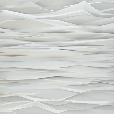 Geometric white abstract polygonal noised edges. Interior room wall Stock Photo