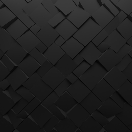 encircling: Black abstract squares backdrop. Geometric polygons, as tile wall. Interior room Stock Photo
