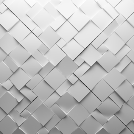 Geometric white abstract polygons, as tile wall. Interior room Stock Photo