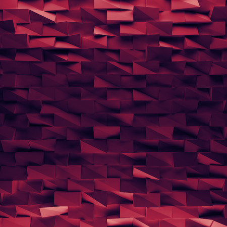 encircling: Vinous abstract squares backdrop. 3d rendering geometric polygons, as tile wall. Interior room