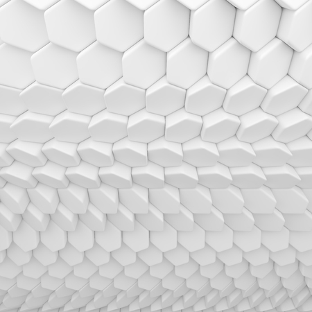 interior cell: White abstract hexagons backdrop. 3d rendering geometric polygons, as tile wall. Interior room
