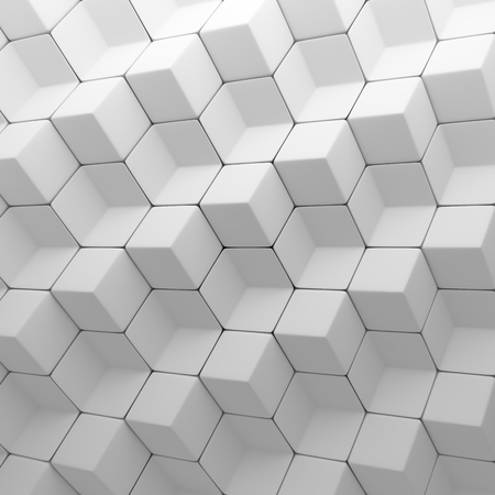 bg: White abstract cubes backdrop. 3d rendering geometric polygons, as tile wall. Interior room
