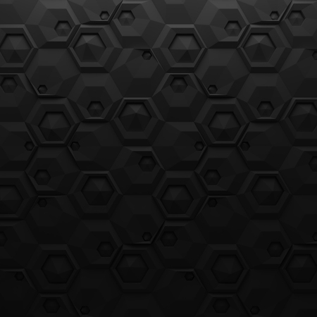 interior cell: Black abstract squares backdrop. 3d rendering geometric polygons, as tile wall. Interior room