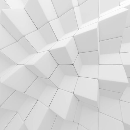 ambience: White abstract cubes backdrop. 3d rendering geometric polygons, as tile wall. Interior room