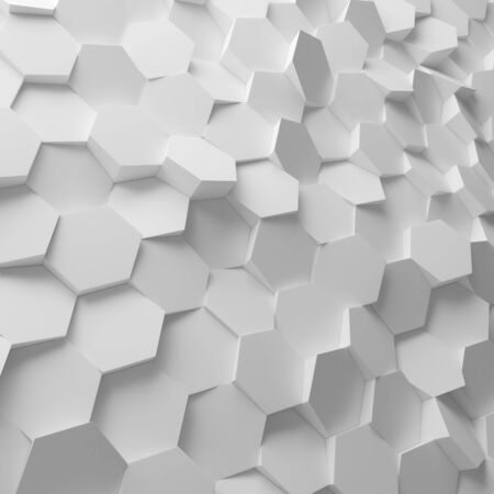 bg: White abstract hexagons backdrop. 3d rendering geometric polygons, as tile wall. Interior room