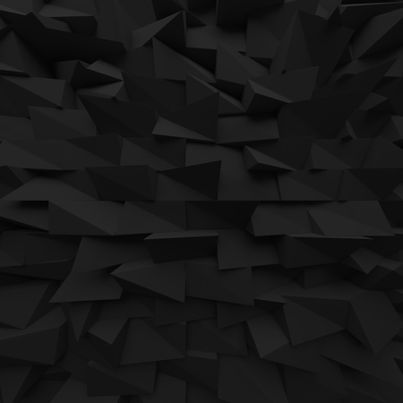 encircling: Black abstract squares backdrop. Geometric polygons, as tile wall. Interior room. 3d rendering