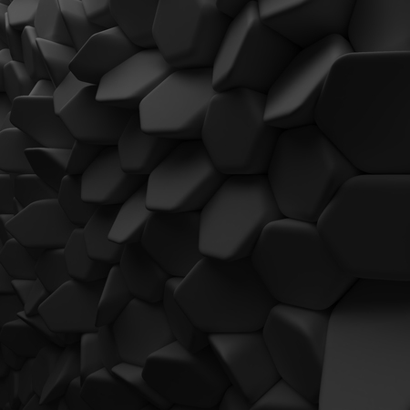 ambience: Black abstract squares backdrop. 3d rendering geometric polygons, as tile wall. Interior room