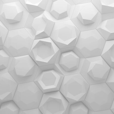 slit: White abstract hexagons backdrop. 3d rendering geometric polygons, as tile wall. Interior room