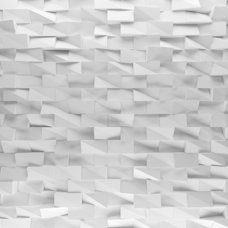 encircling: White abstract squares backdrop. 3d rendering geometric polygons, as tile wall. Interior room Stock Photo
