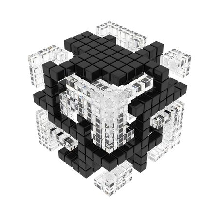 variance: Abstract cube of cubes consist diferent materials on the white background