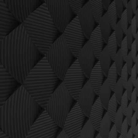 encircling: Black abstract squares backdrop. 3d rendering geometric polygons, as tile wall. Interior room