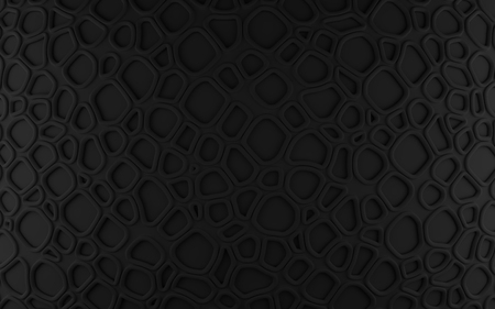 Black abstract cells net backdrop. 3d rendering geometric polygons, as tile wall. Interior room