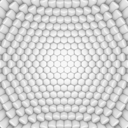 White abstract hexagons backdrop. 3d rendering geometric polygons, as tile hit wall. Interior room