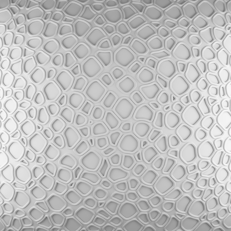 porosity: White abstract cells net backdrop. 3d rendering geometric polygons, as tile wall. Interior room