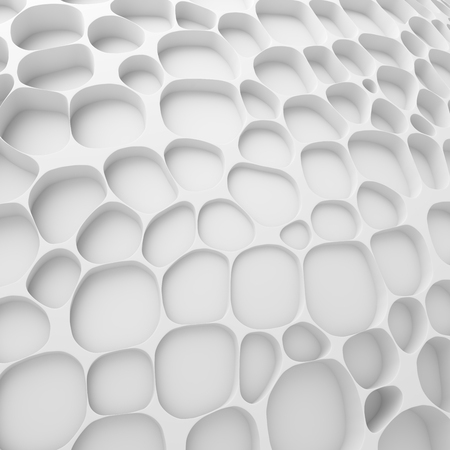 White abstract cells net backdrop. 3d rendering geometric polygons, as tile wall. Interior room
