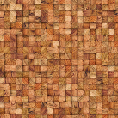Wooden abstract squares backdrop. 3d rendering geometric polygons, as tile wall. Interior room