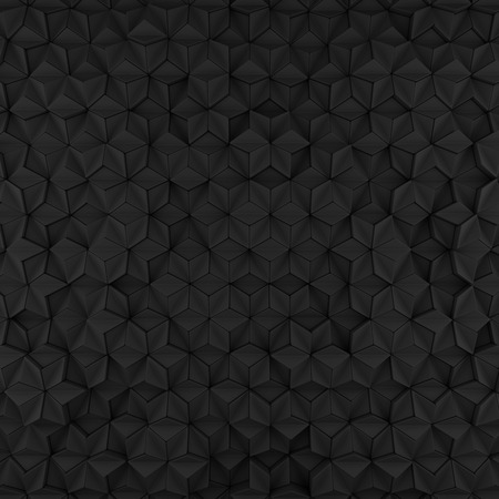 Black abstract rhombus backdrop. 3d rendering geometric polygons, as tile hit wall. Interior room