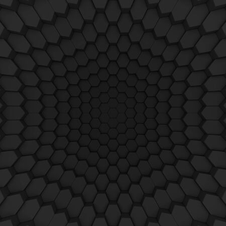 Black abstract hexagons backdrop. 3d rendering geometric polygons, as tile hit wall. Interior room