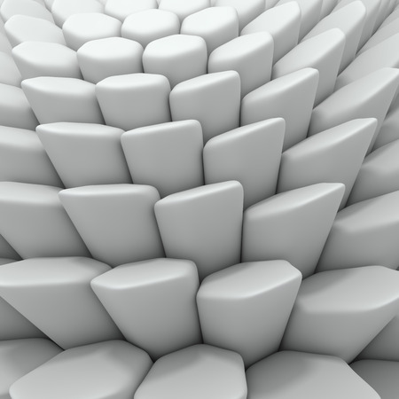 encircling: White abstract hexagons backdrop. 3d rendering geometric polygons, as tile wall. Interior room