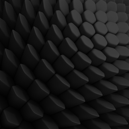 encircling: Black abstract hexagons backdrop. 3d rendering geometric polygons, as tile wall. Interior room