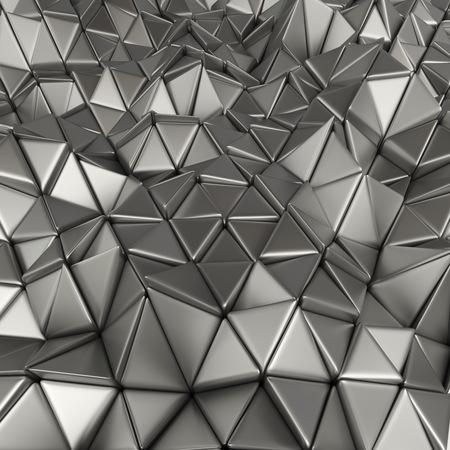 3d rendering geometric metallic polygons, as tile wall. Interior room Reklamní fotografie