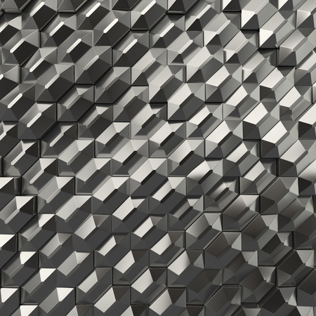 3d rendering geometric metallic polygons, as tile wall. Interior room Stock fotó