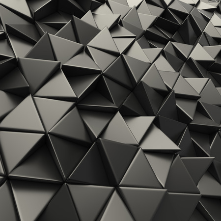 Black 3d rendering geometric polygons, as tile wall.