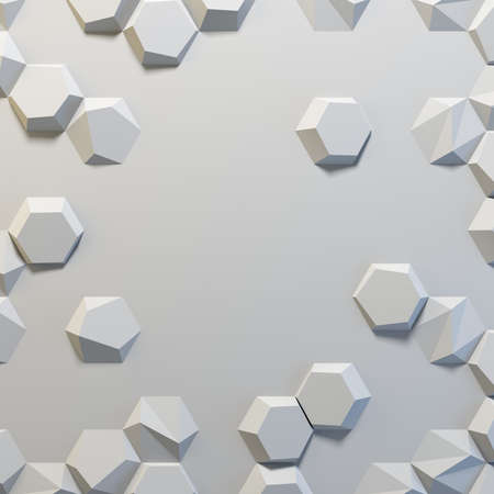 White abstract hexagons blank backdrop. 3d rendering geometric polygons, as illuminated tile wall. Interior room Stock fotó