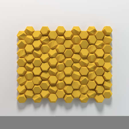Colored abstract hexagons blank backdrop. 3d rendering geometric polygons, as illuminated tile wall. Interior room Stock fotó