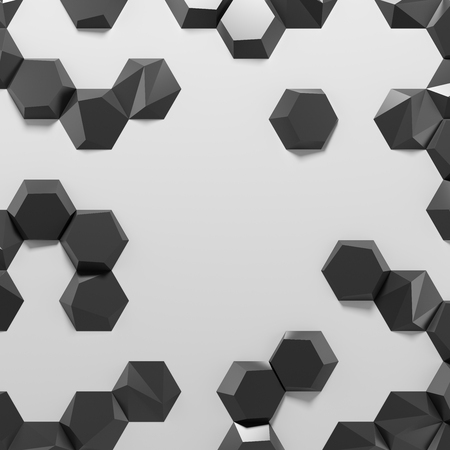 White abstract hexagons blank backdrop. 3d rendering geometric black polygons, as illuminated tile wall. Interior room Stock fotó