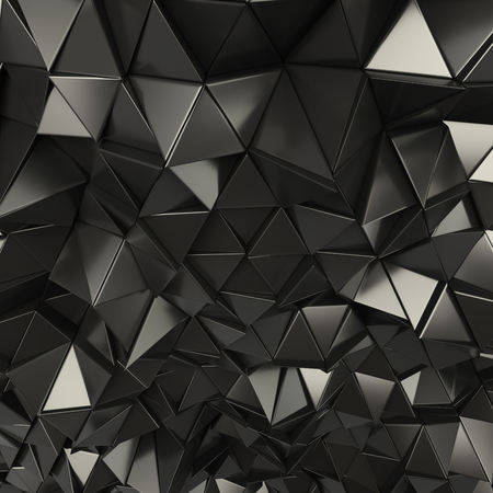 Black 3d rendering geometric polygons, as tile wall. Metallic, Glossy Interior room Stock fotó