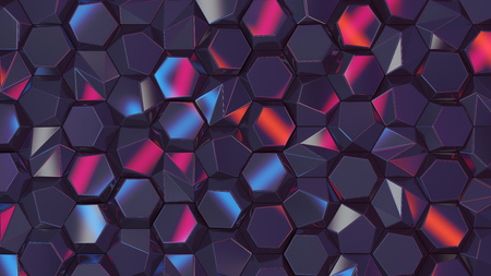 Colored abstract hexagons blank backdrop. Cyber style 3d rendering geometric polygons, as illuminated tile wall. Interior room