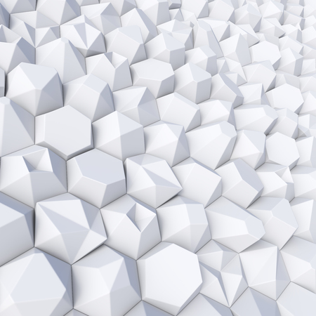 White abstract randomly hexagons backdrop. 3d rendering geometric polygons, as tile wall. Interior room Stock fotó