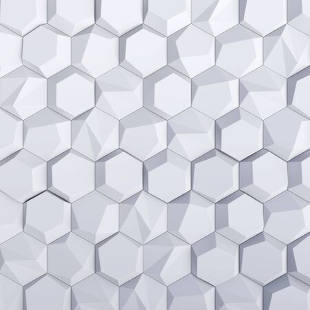 White abstract hexagons backdrop. 3d rendering geometric polygons, as illuminated tile wall. Interior room