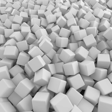 White abstract heap of cubes backdrop. Contrast 3d rendering geometric polygons, as mirror wall. Interior room