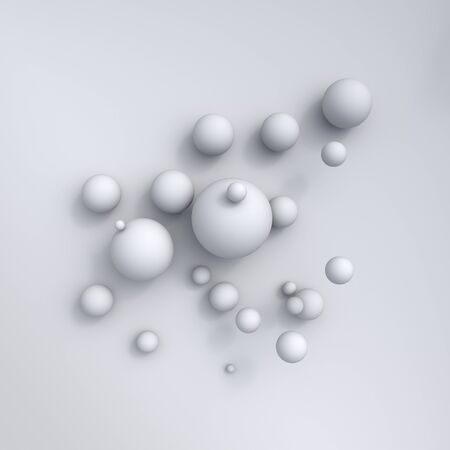 White abstract spheres backdrop. 3d rendering balls, illuminated cold and warm. Interior room