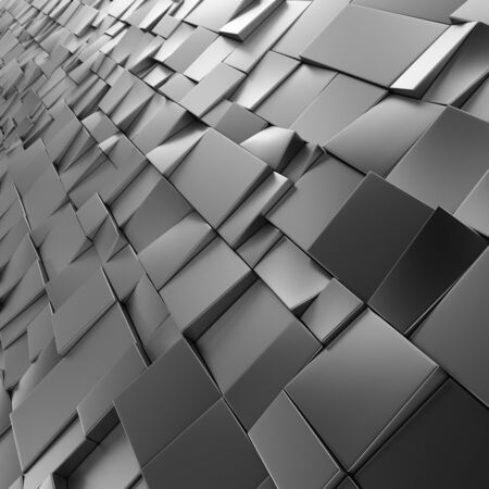 Chrome abstract squares backdrop. Geometric polygons, as tile wall. Interior room