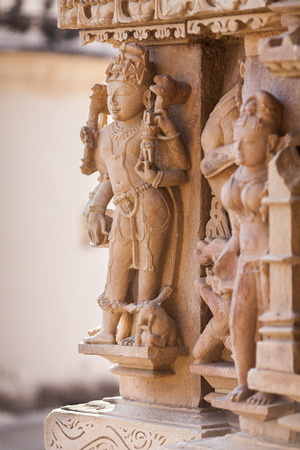 jainism: Bas-relief of the southern part of the temple of Adinath. The deity figure made of sandstone.