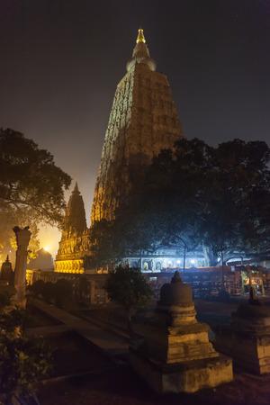 Night illumination of a Bodkhi-tree near base of Mahabodhi Temple, on the place where Buddha Shakyamuni has reached an enlightenment.